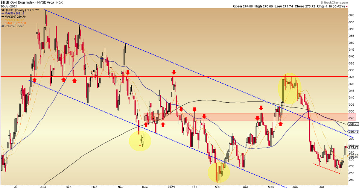 HUI Technical Status And Gold Stock Fundamentals