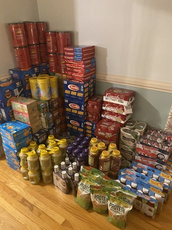 Food stacked up to be donated
