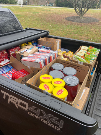 Truck full of food donation for charity